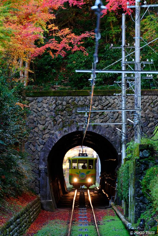 絶景探しの旅 - 絶景写真No.1161 紅葉のトンネルを行く高尾山ケーブルカー (東京都 八王子市)