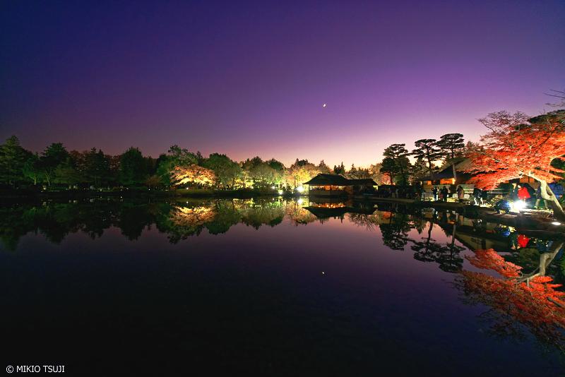 絶景探しの旅 - 絶景写真 No.1162 日本庭園の夜 (昭和記念公園 東京都 立川市)