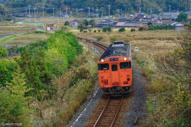 絶景探しの旅 - 絶景写真 No.1184 長門に向かう山陰本線のたらこ色列車 (阿川駅付近/山口県 下関市)