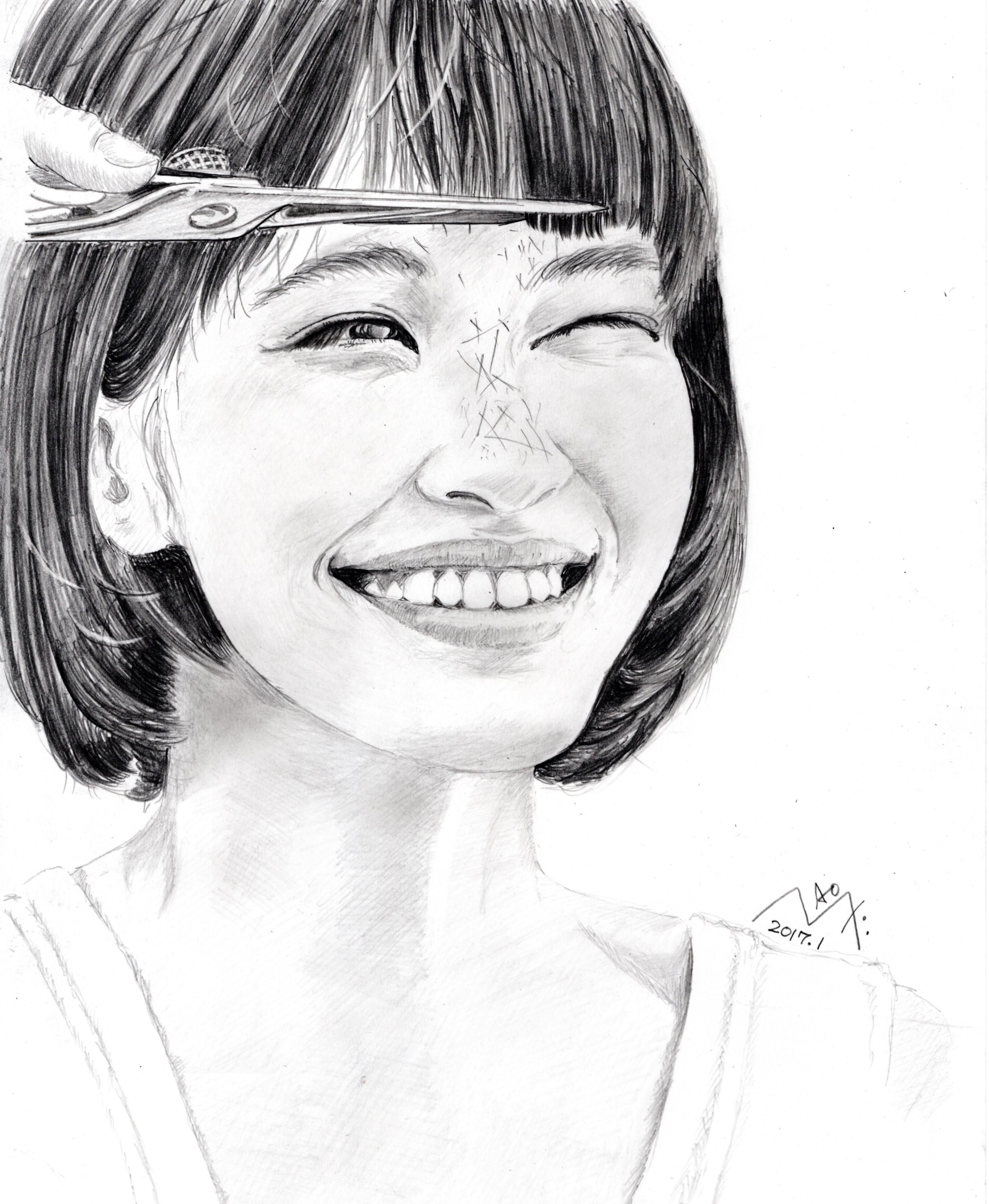 水原希子 鉛筆画似顔絵